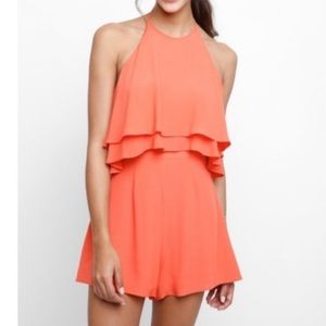 NWT ASTR the Label Bianca Ruffle Romper in Coral